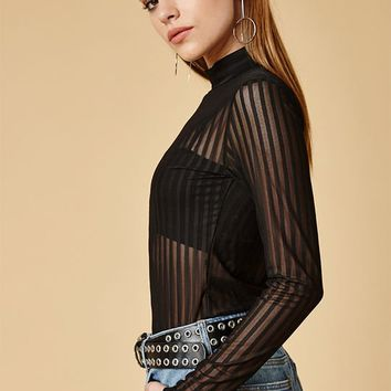 MinkPink Between the Lines Mesh Top at PacSun.com