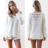 Pullover Elastic Long Sleeve Ripped Holes Sweater [11813548943]