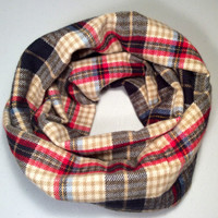 Handmade Infinity Scarf Plaid Flannel, Child, Kid Size, Super Warm Double Layer.  Blue, Black, Red, Tan - Christmas Holiday Gift