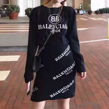 balenciaga women fashion casual logo letter print long sleeve t shirt knit short skirt set two piece 2