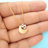 Moon, Initial, Necklace, Love, You, To The Moon, And, Back, Initial, Necklace, Initial, Moon, Personalized, Simple, Modern, Cute, Jewelry
