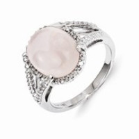 Sterling Silver Rose Quartz and Diamond Ring