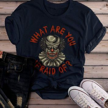 Women's Halloween T Shirt Scary Clown Shirts Evil Clowns Graphic Tee