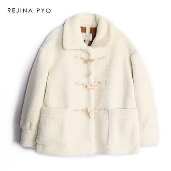 REJINAPYO Women Faux Lamb Fur White Warm Thick Coat Horn Buttons Female Casual Loose Faux Fur Outerwear Winter New Arrival