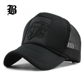 Trendy Winter Jacket [FLB] 2017 Hip Hop Black leopard Print Curved Baseball Caps Summer Mesh Snapback Hats For Women Men casquette Trucker Cap AT_92_12