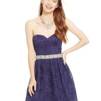 City Triangles Juniors' Embellished Soutache Floral Sweetheart Dress | macys.com