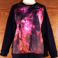 Sky Galaxy Shirt sweatshirt Winter Cold Ladies Fashion size M/ L long sleeve crew neck jumper Galaxy sweaters red pink shirtl