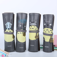1pcs Cute My Neighbor Totoro PU Leather Creative Roll Bandage Pencil Case Storage Bag Gift Stationery School Office Supplies
