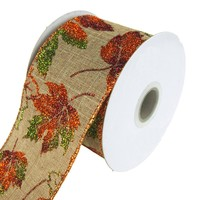 Glitter Leaves Linen Wired Ribbon, 2-1/2-Inch, 10 Yards