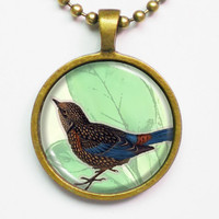 Birds Necklace- Vintage Bird Graphic, Illustration Necklace