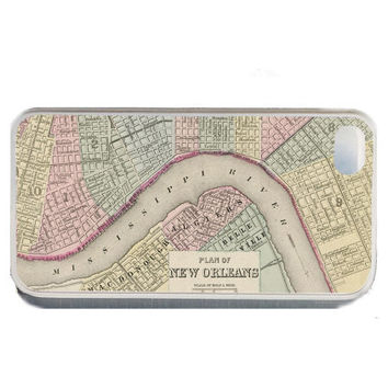 iPhone case Vintage Map of New Orleans, fits iPhone 4, 4s - iPhone 5 Case