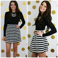 Back To The Classics Black and White Striped Skirt