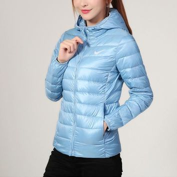 Nike Women Fashion Eider Down Hooded Cardigan Jacket Coat Windbreaker