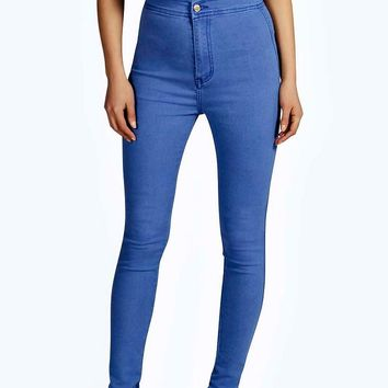 Lara True Blue High Rise Tube Jeans | Boohoo