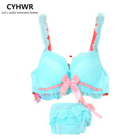 Pastoral style Overall sexy cute chic girl sexy bra underwear for charming bra underwear set push up bra sets
