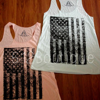 American Flag Tank Peach OR Mint