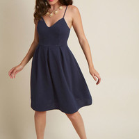 V-Neck Pleated A-Line Dress