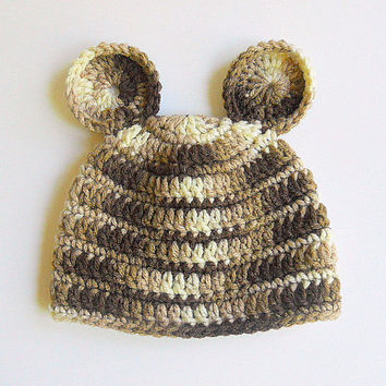 Brown Baby Hat Camo Boy Cap Infant Girl Camouflage Beanie 3 - 6 Months Children Fall Clothing Winter Tan Animal Hat With Ears