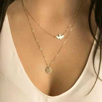 Layered Bird Coin Necklace