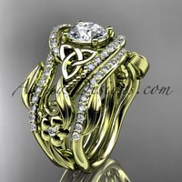14kt yellow gold diamond celtic trinity knot wedding ring, engagement ring with a double matching band CT7211S