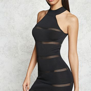Mesh-Stripe Bodycon Dress