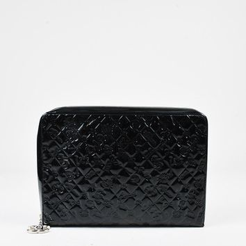 "Chanel Black Patent Leather Quilted ""Lucky Symbols"" Zip Portfolio Case"