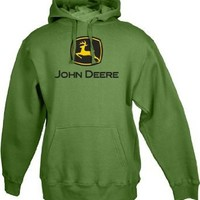 John Deere Men's Trademark Logo Core Hood Pullover Fleece, Green, XX-Large