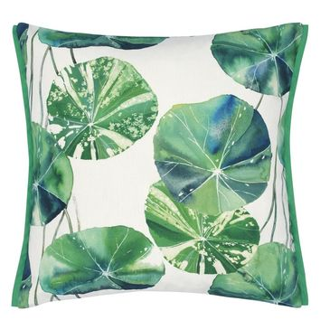 Designers Guild Brahmi Outdoor Leaf Decorative Pillow