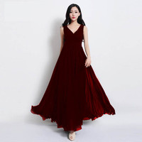 V-Neck Sleeveless A-Line Chiffon Dress