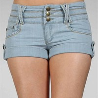 Light Denim Cuffed Hem Shorts