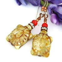 Handmade Turtle Earrings, Ivory Czech Glass Crystals Red Coral Artisan Jewelry Gift