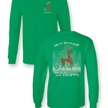 Sassy Frass Merry Little Christmas Reindeer Bow Long Sleeve Bright Girlie T Shirt