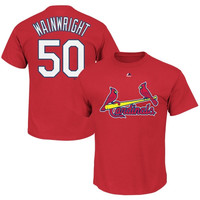 Adam Wainwright St. Louis Cardinals Majestic Official Name and Number T-Shirt – Red