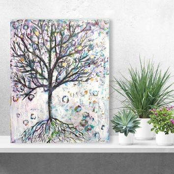 Original Mixed Media Tree, Tree Art, Tree Painting, Grunge Tree, Mixed Media Art, Tree of Life, Nature Art, Home Decor, Teen Decor, 16x20