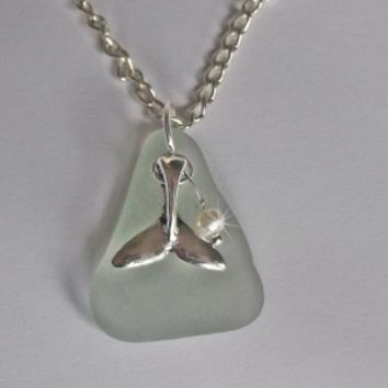 Aqua sea glass necklace with whale tail