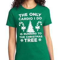 Green The Only Cardio I Do Christmas Crewneck Tee