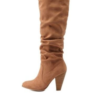 Camel Rouched Stacked Heel Boots by Charlotte Russe