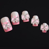 Yesurprise Pink Bow Tie Butterfly 10 pieces Silver 3D Alloy Nail Art Slices Glitters DIY Decorations