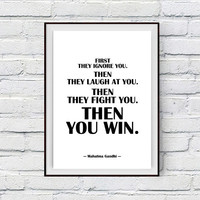 Motivational Print, Winning Inspirational Wall Art, Mahatma Gandhi Quote Printable Wall Decor Typography Poster,black and white