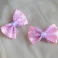 Mini hair bow - pastel pink and lavender purple - fairy kei decora lolita harajuku romantic kitten play princess fashion kawaii costume prop
