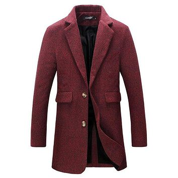New Autumn Winter Fashion Brand Jacket Mens Wool Coat Single Breasted Pea Coats Mens Clothing Trend Mid-Long Trench Coat Men 5XL