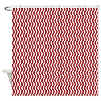 Red and White Wavy Stripes Shower Curtain> Contemporary Red and White Wavy Stripes> Buy Gifts