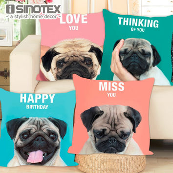Cushion Cover French Bulldog Pug Dog Colorful Letters Pillowcase 43x43cm/17x17'' Woven Pillow Covers Polyester&Linen Home Decor