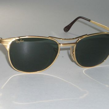 1980's VINTAGE B&L RAY BAN W1396 ARISTA GP G15 UV SIGNET HORN RIMMED SUNGLASSES