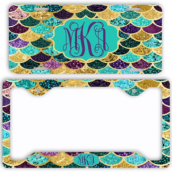 Purple Gold Teal Mermaid License Plate Car Tag Monogram Frame Personalized Set Custom Initials NOT ACTUAL GLITTER Mermaid Scales