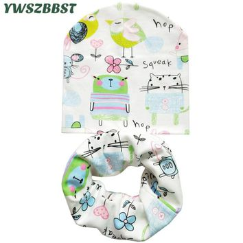 Winter Cotton Baby Hat Scarf Set Animal Print Children Hats Baby Girls Hat Baby Boys Neck Scarf Collar Kids Beanie Cap
