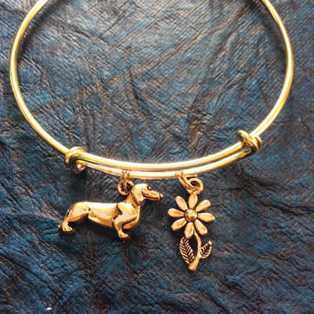 Gold Dachshund Dog Charm on a Gold Expandable Adjustable Wire Bangle Bracelet Handmade Dog Lover Gift