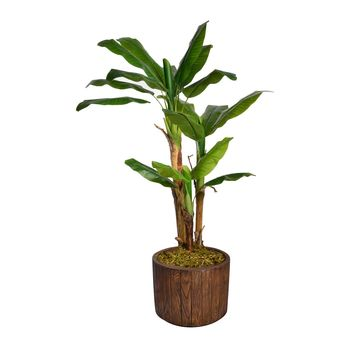 "64.8"" Artificial Banana Tree Burlap Kit in 12.8"" Wood-like Fiberstone Planter"