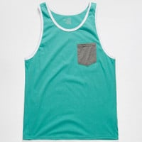 Blue Crown Tri Color Contrast Mens Pocket Tank Seafoam  In Sizes