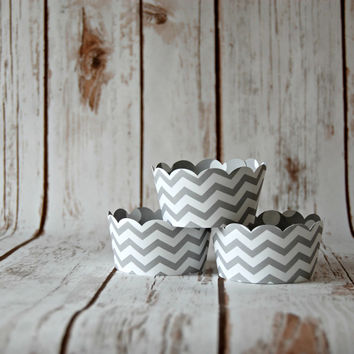Grey Chevron Cupcake Wrappers, Reversible Wraps,  Gray Polka Dot Cupcake Decoration (set of 6)